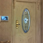 شیشه استیندگلس بیضی برای درب ورودی چوبی نمای 2