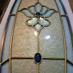 شیشه استیندگلس بیضی برای درب ورودی چوبی نمای 4