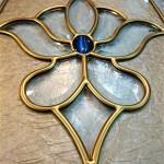 شیشه استیندگلس بیضی برای درب ورودی چوبی نمای 5