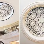 گنبد شیشه ای تیفانی یا استیند گلس به صورت نورگیر با استفاده از شیشه های الماس تراش برای نقوش و شیشه های مات معرق کاری شده برای منزل مسکونی