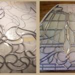 در حال کلاف و معرق کاری پنل استیندگلس که شیشه بافت دار و الماس تراش و فلز های نقره ای در آن قابل مشاهده می باشد