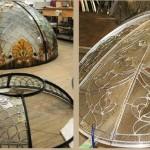 گنبد شیشه ای تیفانی یا استیند گلس به صورت نورگیر با استفاده از شیشه های الماس تراش برای نقوش و شیشه های مات معرق کاری شده برای منزل ویلایی قبل از نصب شدن